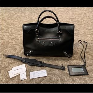 Balenciaga Fleur Vernis Black Purse Bag